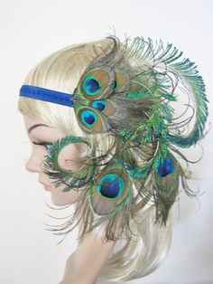 Large burlesque natural Peacock feather 1920s flapper style headband.