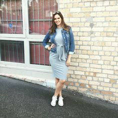 Everyday style featuring Asos dress, Just Jeans denim jacket And Kmart trainers   #maternitystyle #pregnancystyle #trainers