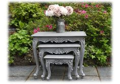 Beautiful Unique Vintage Upcycled Shabby Chic Nested Nest Of Tables Detailed French Louis Style
