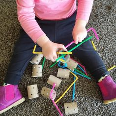 "537 Likes, 19 Comments - A Crafty LIVing • Olivia (@acraftyliving) on Instagram: ""Fine Motor Friday with a Toddler (18m +) with holey TP rolls + straws! 🎉 I shared this activity I…"""
