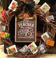 """Our classrooms teacher appreciation gift card """"giving tree"""" wreath."""