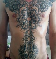 Sacred Geometry Line Tattoos For Men On Chest And Stomach