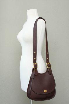 Vintage Coach Dark Brown Leather Messenger Crossbody by vintageair