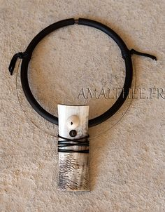 Horn and rubber necklace, amalthee creations