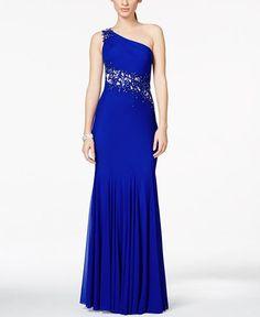 Xscape Petite Asymmetrical Illusion One-Shoulder Evening Gown