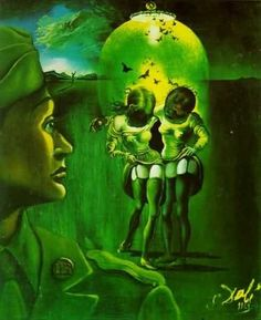 """""""Soldier Take Warning"""" (1942) by Salvador Dali. He created this painting to warn the soldiers against venereal diseases during WWII."""