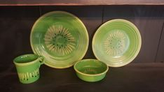 """Fiesta® Kiwi Dinnerware made by Homer Laughlin China Company. This collection of Fiesta® Kiwi includes 10.5""""  dinner plate, 9""""  luncheon plate, 5.75"""" bowl and a ring handle mug. Retired, limited edition 