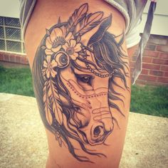 My horse tattoo! I keep forgetting to add this. Amazing artist, favorite piece on my body