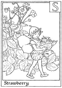 Fairy printable colouring page. S is for Strawberry.