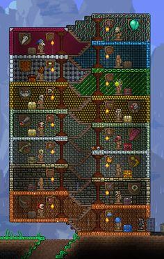 Minecraft Quilt, Minecraft Blueprints, Minecraft Designs, Terraria Memes, Terraria Tips, Terraria House Design, Terraria House Ideas, Mojang Minecraft, How To Make Terrariums