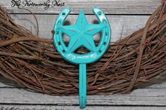 A personal favorite from my Etsy shop https://www.etsy.com/listing/222822296/aqua-western-star-hook-iron-hook-western