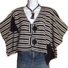 Asymmetrical Lagenlook Crop Top / Jacket I love this one! Black and white stripes, large two button closure in front, shoulder pads. No size or material tags. Probably a cotton blend. Super roomy, will fit most sizes. Twist by Papillon Tops