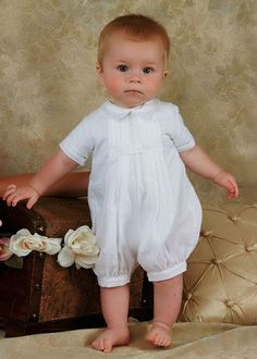 Cotton Christening Outfit....the little boy in this picture is just darling. I want to kiss him!