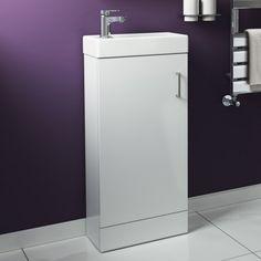 Portland Floor standing White Compact Basin Unit - soak.com