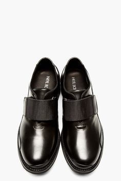 NEIL BARRETT Black Leather Single Strap Shoes