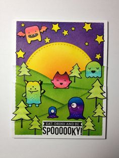 Lawn Fawn Monster Mash; vibrant; halloween; stitched circle die; DIB; bright; adorable
