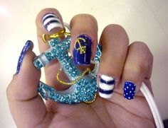 Today's Daily Nail Art is a sailor theme design by captainsaku (a fitting name!). Using a bold blue and white, alternate the designs on your nails with stripes, dots, and leave one solid so you can add a little golden anchor out of little bead accents if you don't happen to have a little anchor charm. All that's left to do is go on a fun boat ride and show off your sailor nails.