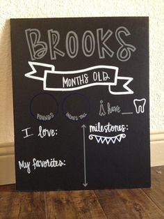 Watch Me Grow Monthly Baby Chalkboard by CHALKdesignsBYme on Etsy, $35.00