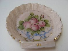Lovely Hand Painted Pink Glass Trinket Dish//Gold Trimmed Tiny