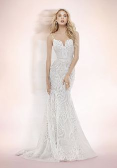 9851654349 Blush by Hayley Paige bridal gown - Ivory Marrakesh beaded fit to flare bridal  gown
