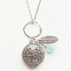 Aqua Drop Owl and Feather Diffuser Necklace Silver, Aromatherapy Necklace, Essential Oil Diffuser Necklace, Owl Oil Diffusing Necklace