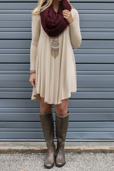 The flowy long shirt and leggings with boots is my go to outfit