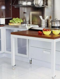 Küchenmöbel Stylish and practical - sliding table for kitchen - Little Piece Of Me Beware of Toxic M Kitchen Island Storage, Kitchen Island Table, Kitchen Drawers, Kitchen Pantry, New Kitchen, Kitchen Decor, Kitchen Small, Kitchen Ideas, Kitchen Islands