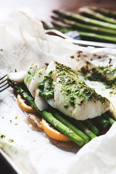 Cod en Papillote with Potatoes, Asparagus and Scallion Pistou — a Better Happier St. Baked Cod Recipes, Wrap Recipes, Fish Recipes, Seafood Recipes, Cooking Recipes, Healthy Recipes, Healthy Dinners, Oven Baked Cod, Roasted Cod