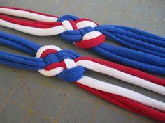 red white blue tshirt headbands - knotted jersey headband tutorial