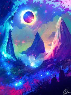 Colourful magic landscape