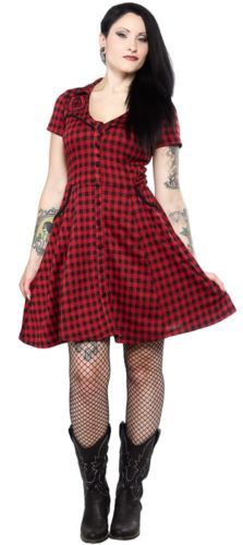 "Women's ""Lucky Horseshoe"" Western Dress by Sourpuss Clothing (Black/Red) Pin Up Dresses, Dress Me Up, Nice Dresses, Casual Dresses, Casual Outfits, Fashion Outfits, Style Fashion, Sourpuss Clothing, Tattoo Clothing"