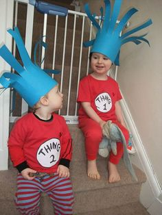 World Book Day - Thing 1 and Thing 2 Cat in the Hat Costumes