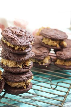 Double Chocolate Peanut Butter Cookie Dough Sandwich Cookies