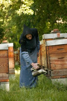 At the Triors Abbey  (Abbaye Notre-Dame  de Triors, Drome, France),  Friar Claude keeps  an apiary of forty hives to  produce the abbey's honey.  For centuries,  abbeys and monks  were important honey  and wax producers.
