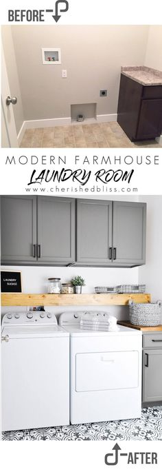 Small laundry rooms-Do laundry in style in this Modern Farmhouse Laundry Room. Come see the transformation from builder grade to gorgeous on a low budget! Laundry Room Remodel, Laundry Closet, Laundry Room Organization, Small Laundry, Laundry Room Design, Laundry In Bathroom, Kitchen Remodel, Laundry Decor, Basement Laundry