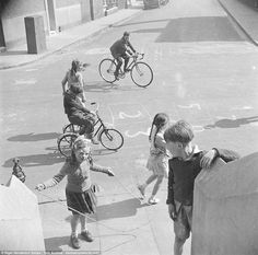 Children playing on Chisenhale Road, Bow, in 1951, one of the images released  in the recently released book Nigel Henderson's Streets: Photographs of London's East End 1949-1953