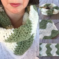Unisex Chevron Scarf, Unisex Chevron Cowl Scarf, Chevron Crochet Scarf, Two Tone Cowl Scarf, Cream and Green Scarf, Unisex Chevron Scarf by TheHookster on Etsy