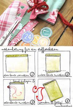 Hier kommt meine kleine Anleitung, wie ihr Stoffsäckchen selber nähen könnt + Zahlen zum Ausdrucken für euren selbstgemachten Adventskalender! >> http://alessa-accessoires.blogspot.de/2013/11/freebie-nahanleitung-adventskalender.html