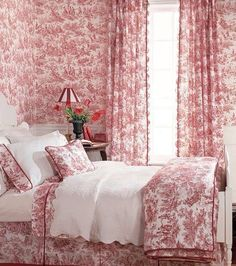 If you love toile, this is the bedroom for you! I love toile.