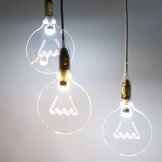 """""""The light in the bubble"""" is a new light concept applied to a classic bulb design. It's a led light source with a bulb cutted from an acrylic sheet. The bulb is transparent when the light is off, but when you turn on the light,you see the bulb's shape and the virtual filament designed inside it."""