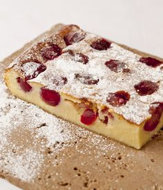 Clafoutis is a classic French dessert originating from the South West Limousin region, and it is somewhere between a cake and a flan.