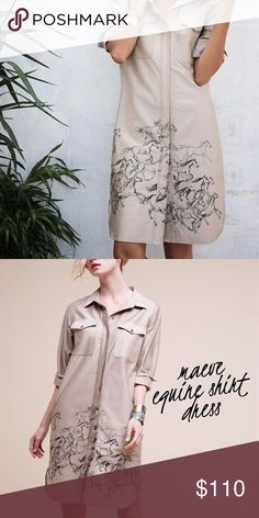 Maeve • structured equine shirt dress Horse print shirt dress by Maeve in natural. Lightweight and can also be worn as a jacket if left unbuttoned. 100% cotton. Model photos are from Anthropologie to show fit.  Please don't hesitate to ask questions. ❥ Anthropologie Dresses
