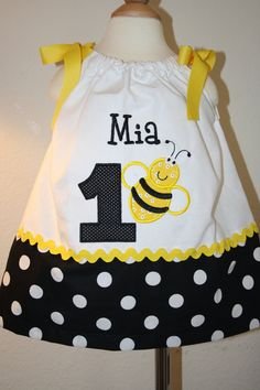 Cutie Bumblebee Birthday Dress Personalized/Appliqued. $30.00, via Etsy.