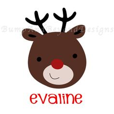 Christmas Iron on Transfer DIY - My 1st Christmas Red Green Christmas Reindeer Christmas Girl Boy Iron On Custom Personalized Name - Evaline op Etsy, 3,81 €