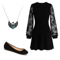"""black night"" by liniki on Polyvore featuring Chicwish"