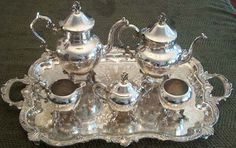 Antique Silver Tea Set, Coffee Service Figural Finial. Guess I have been married a very long time!