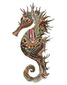 Pressed Ferns Transform into Intricate Animal Illustrations