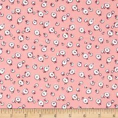 Storybook Vacation Tumbling Daisies Pink Fabric