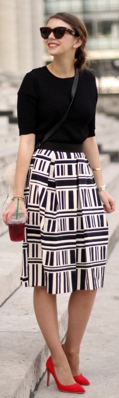 River Island Black And White Geometric Print Midi A-skirt
