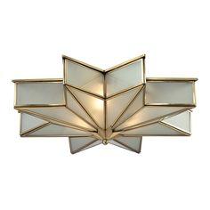 $528 Overstock - Decostar 3-light Flush Mount in Brushed Brass